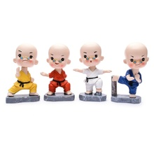 цена на Car decoration monk shaking his head   Shaolin Kung Fu monk with glasses   Martial arts boxing resin crafts   gift