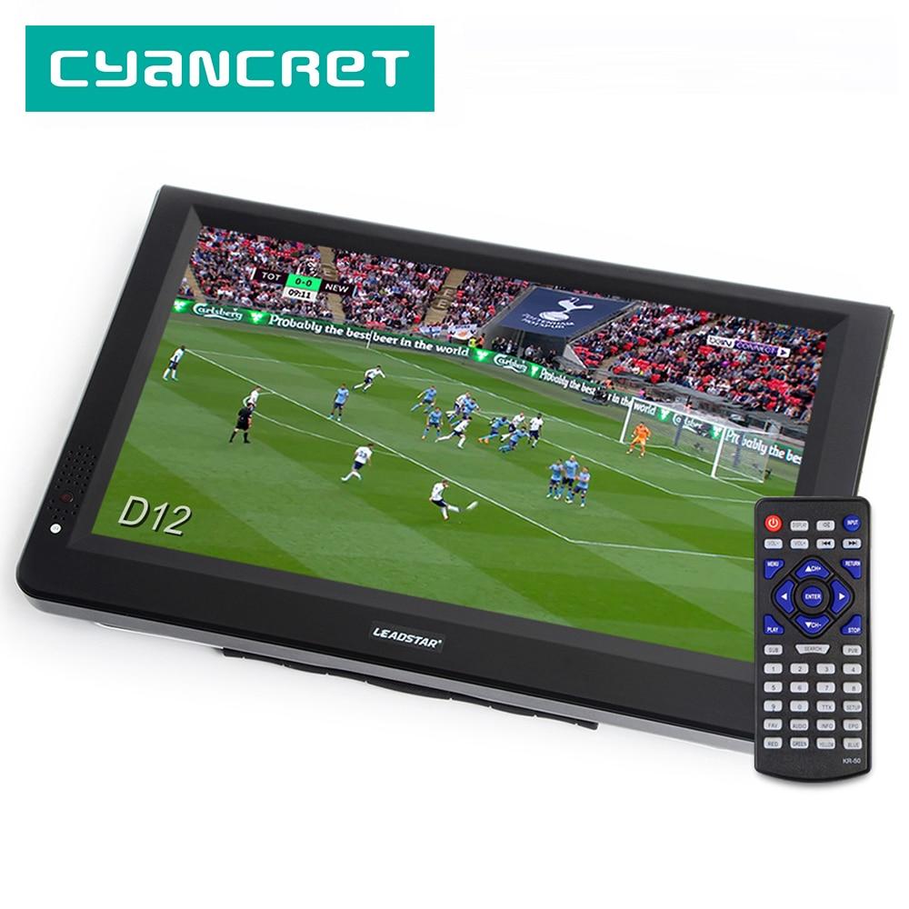 LEADSTAR D12 дюймов HD портативный TV DVB-T2 ATSC ISDB-T tdt цифровой и аналоговый мини маленький автомобильный Телевизор с поддержкой USB SD-карты MP4 AC3