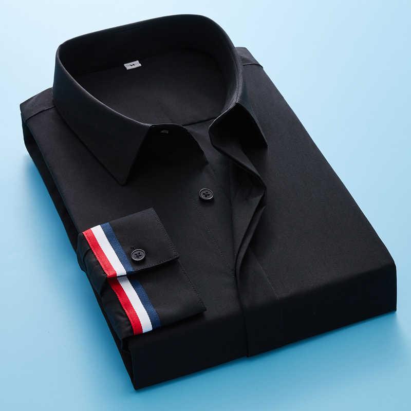 男性のクラシック非鉄ストレッチソリッド基本ドレスシャツビジネス長袖標準フィットしわ簡単ケアシャツ