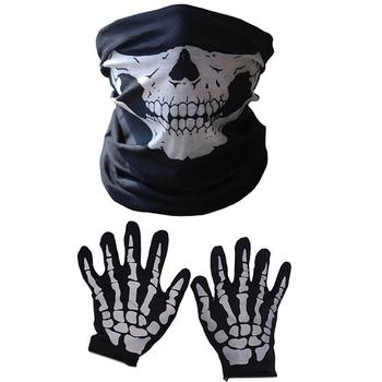 Maska Halloween straszny czaszka podbródek maska szkielet duch rękawice do występów imprezy element ubioru festiwale (3 sztuk zestaw) tanie i dobre opinie