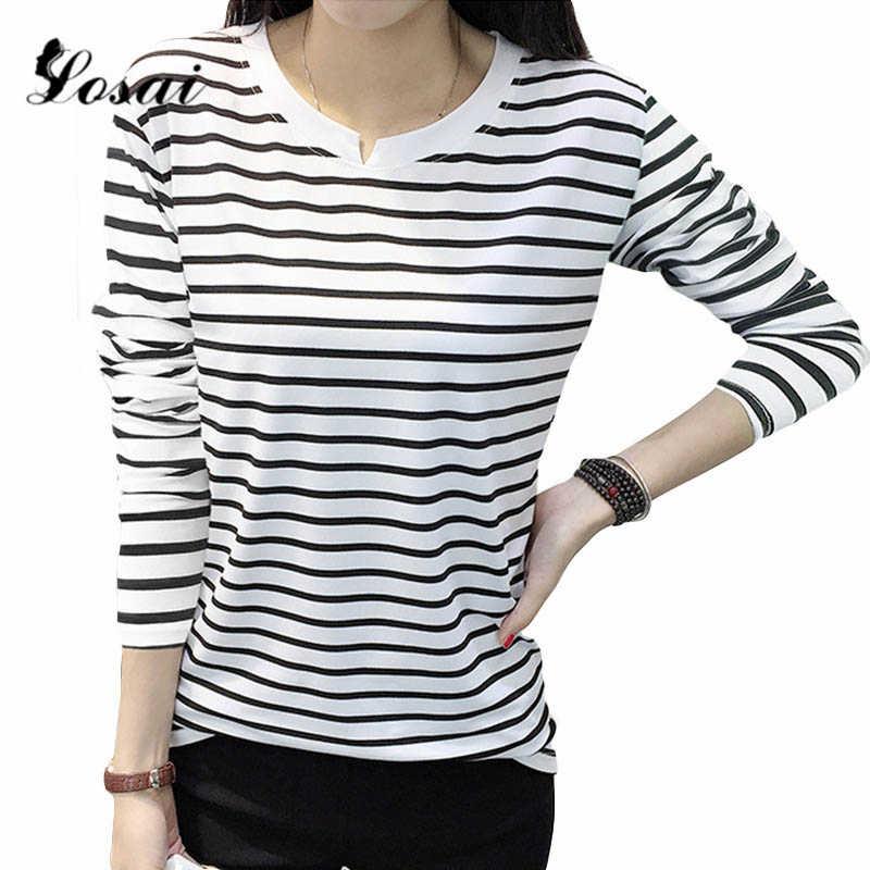Осень 2019, Женские Повседневные базовые Топы с длинным рукавом, женские футболки с v-образным вырезом, полосатая футболка, топ, белая, черная, Классическая футболка, футболка