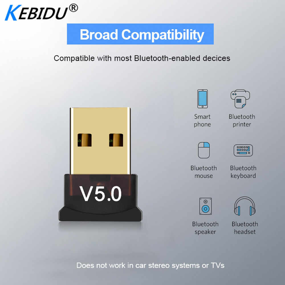Kebidu Mini BT 5.0 Adapter USB Dongle Draadloze USB Bluetooth Zender 5.0 Muziek Ontvanger Bluetooth Adapter Voor Computer PC