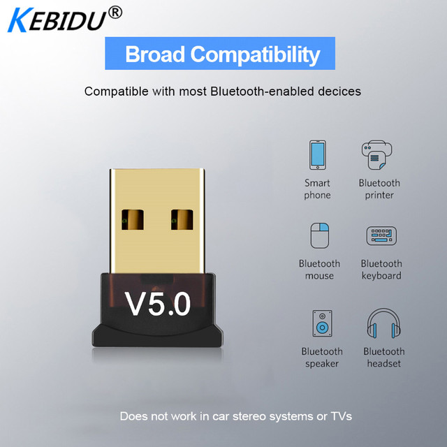 Kebidu מיני BT 5.0 מתאם USB Dongle אלחוטי USB Bluetooth משדר 5.0 מוסיקה מקלט Bluetooth מתאם עבור מחשב PC