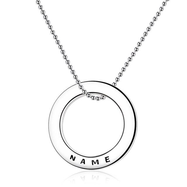 Collier en argent Sterling 925 avec cercle personnalisé personnalisation collier nom gravé cadeau saint valentin