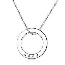 Strollgirl 925 Sterling Silver Linked Circle Necklace Personalized Customization Engraved Name Necklace Valentines Day Gift