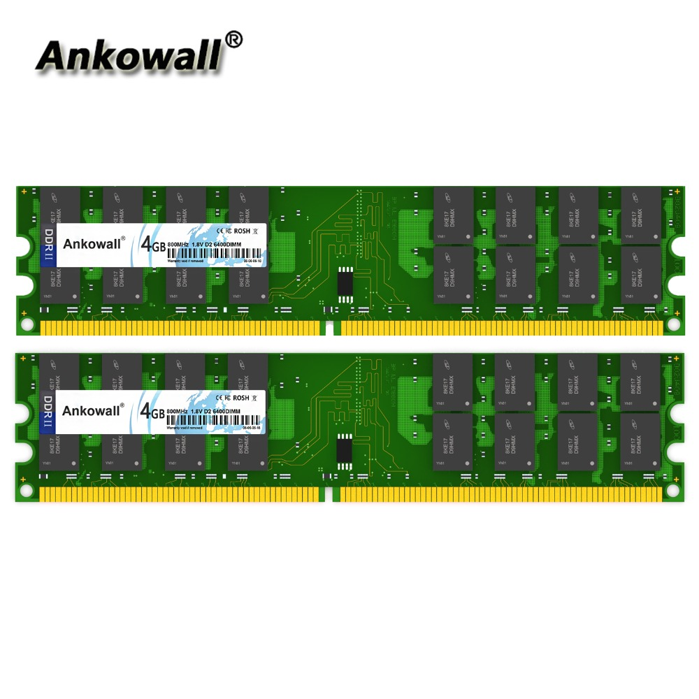 Ankowall <font><b>DDR2</b></font> 800MHz 8GB Kit (2 x <font><b>4GB</b></font>) <font><b>4GB</b></font> <font><b>RAM</b></font> 800 MHz DIMM Notebook Memory PC2-8500 Desktop <font><b>RAM</b></font> image