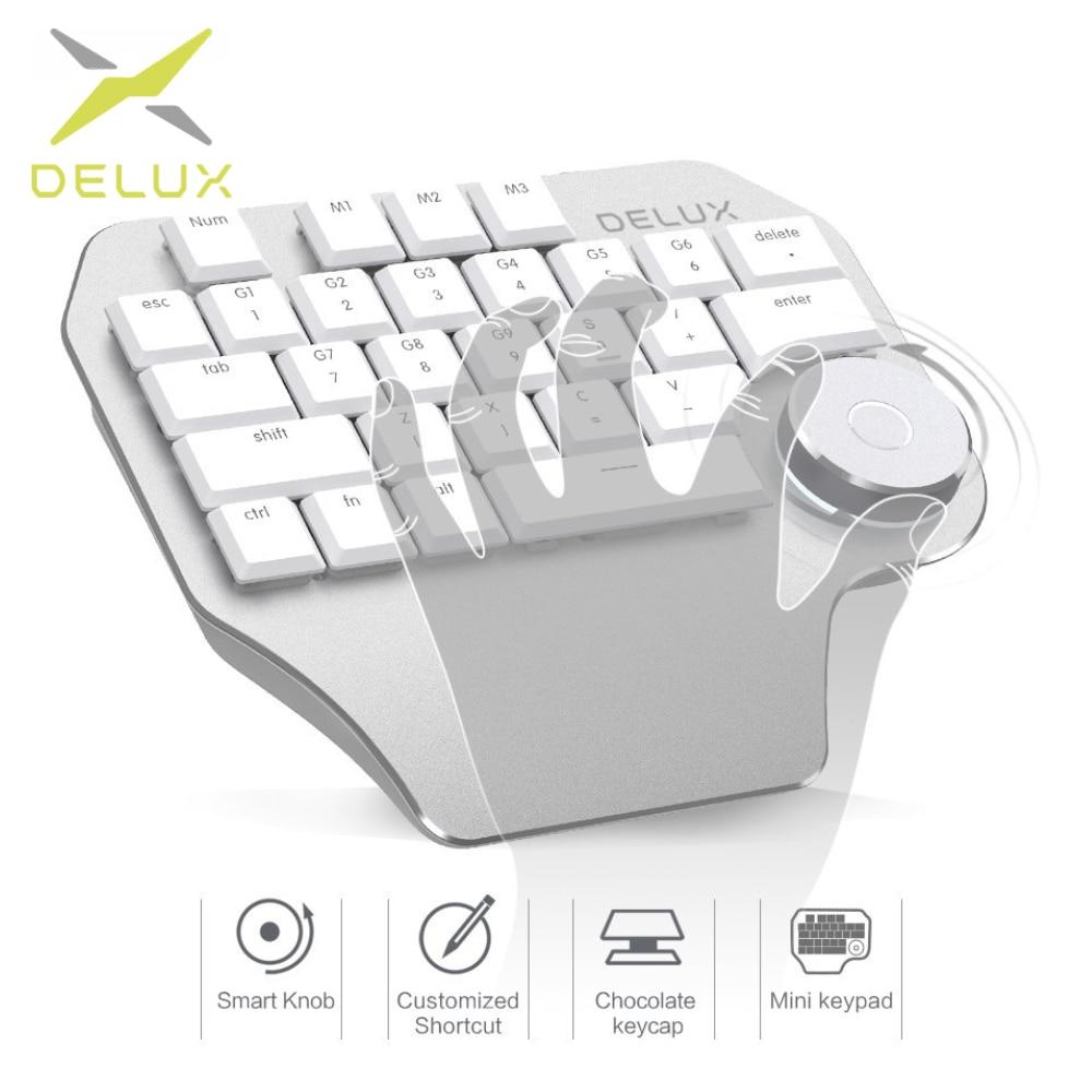 Clavier de concepteur de Delux T11 avec le cadran intelligent 3 touches personnalisables de groupe compatibilité de clavier pour le logiciel de conception de Windows Mac de Wacom