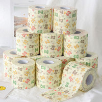 12 Volume Boxed Bear Roll Paper Love Is Still Printed Paper Towel Cute Cartoon Cored Reel Household Toilet Paper Manufacturers W