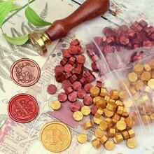 100 unids/lote Vintage hecho a mano Octagon sello cera tableta pastillas cuentas para sobre invitación de boda estampado DIY antigua cera de sellado