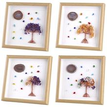 TUMBEELLUWA 8.7 Framed Agate Slice Wall Art,Healing Crystal Money Tree Tumbled Stones Picture Frame for Wedding Home Decor