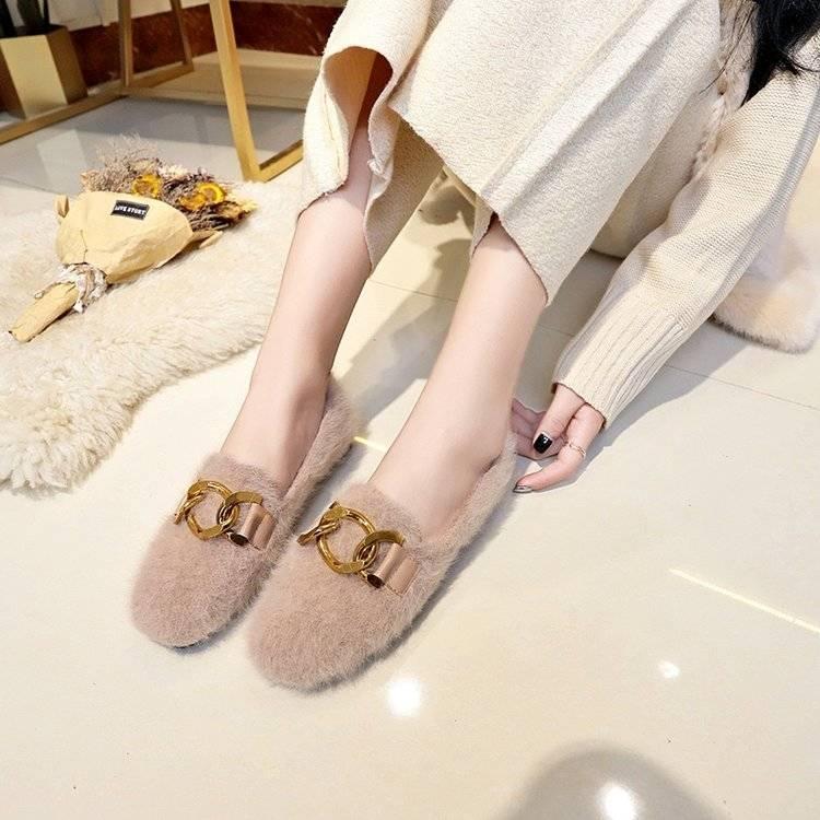Women Shoes Fur Shoes Woman Autumn Winter Short Plush Flat Shoes Women Loafers Ladies Shoes Zapatillas Mujer chaussures femme 42