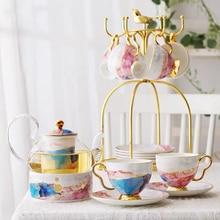High End Gold Plating Bone China Coffee Set With Tray Stainless Holder Base Nordic Porcelain Tea Set Ceramic Mug Sugar Bowl