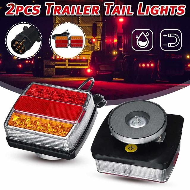 2 sztuk 12V magnetyczne LED platforma ciężarówki światło tylne światło ostrzegawcze lampy kierunkowskazu hamulca dla przyczep kempingowych kamperów ATV łódź tanie i dobre opinie Autoleader CN (pochodzenie)