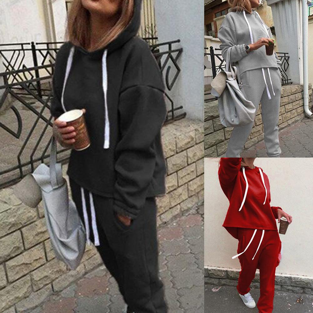 One set women tracksuits autumn Women Solid Color Hooded Sweatshirt and pant Tracksuit Sport Set