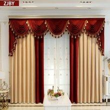 Personalizado cortina de luxo grosso sombreamento veludo sala villa amarelo vermelho pano blackout cortina valance tule painel c241