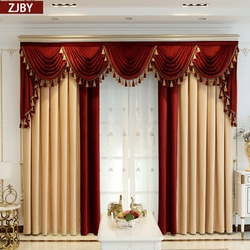 Custom curtain thick luxury shading velvet living room villa yellow red cloth blackout curtain valance tulle panel C241