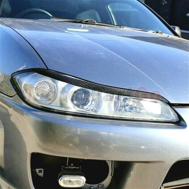 Real Crabon Fiber Head light Eyelid Eyebrow Cover Trim 1pair for  Nissan 200SX Silvia S15  1999-2004 T215 1
