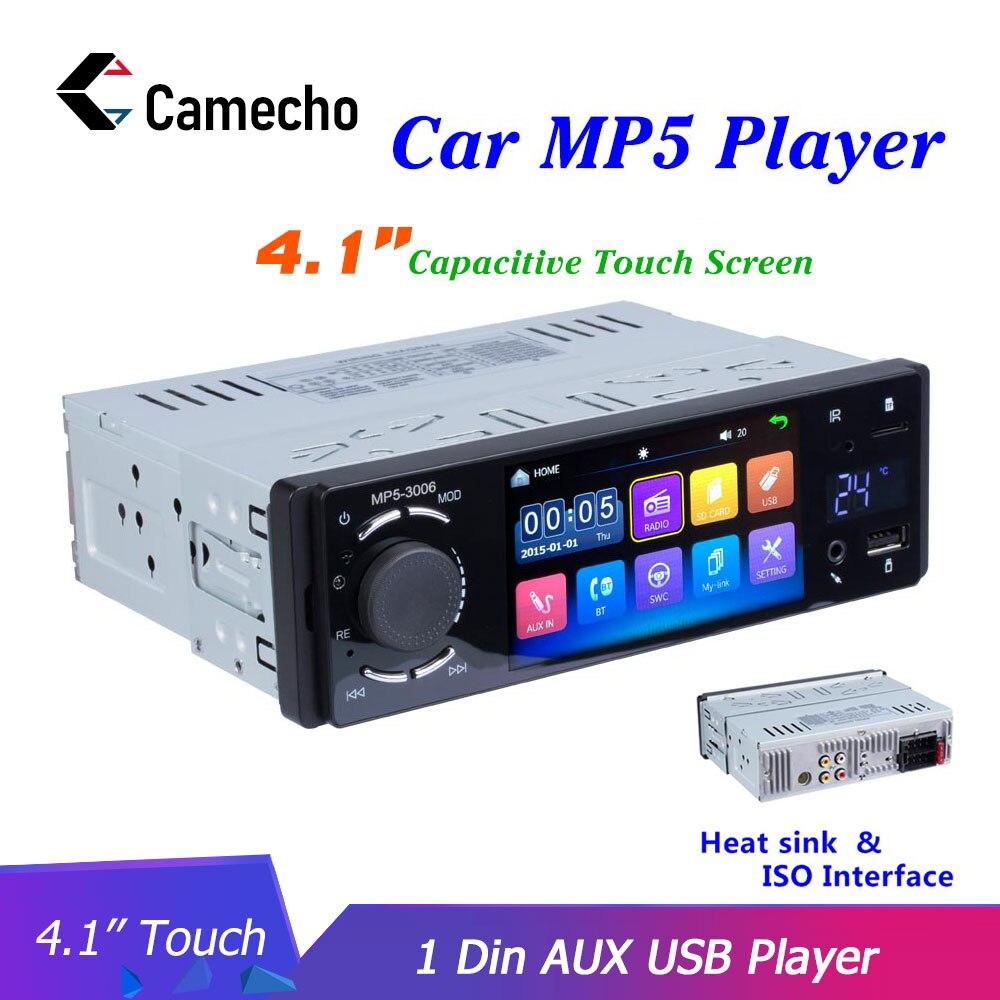 Camecho Autoradio 1 Din FM Bluetooth USB voiture Auto Audio stéréo 12V In-dash Mirror Link voiture MP3 vidéo lecteur multimédia