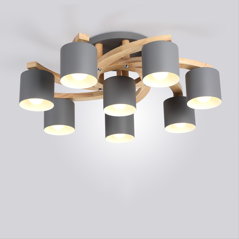 Image 2 - Nordic Wood E27 Ceiling Lamp Simple Art Iron Ceiling Light Bedroom Living Room lustre Kitchen Dining & Bar ceiling lights Avize-in Ceiling Lights from Lights & Lighting