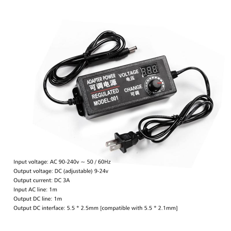 Adjustable <font><b>Ac</b></font> to Dc 3V 12V 3V 24V <font><b>9V</b></font> 24V Universal <font><b>Adapter</b></font> with Display Screen Regulated Voltage 3V 12V 24V Adatper <font><b>Power</b></font> image