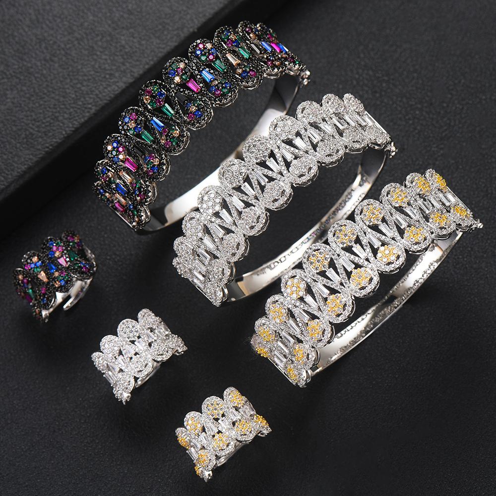 GODKI Jimbora Noble Luxury 2PCS Wide Bangle Ring Set For Women Bridal Wedding New Hot Super Elegant Shiny Bracelet Rings Jewelry