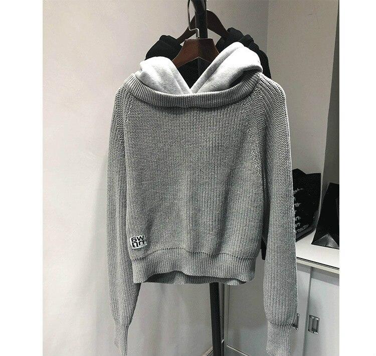 Женский свитер с капюшоном AAW147, Однотонный свитер с имитацией двух частей, A2