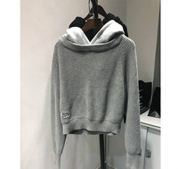 AAW147 Solid Color Loose Hooded Sweater Women Fake Two piece Stitching Sweater A2