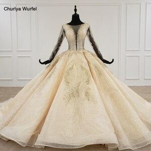 Image 1 - HTL1235 2020 งานแต่งงาน Boho แขนยาวภาพลวงตา V คอเลื่อมลูกปัดลูกไม้ UP sparkly งานแต่งงาน Robe de mariée bohème