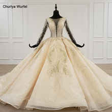 HTL1235 2020 חתונה שמלת boho ארוך שרוול אשליה v צוואר נצנצים ואגלי תחרה עד חתונה נוצצת robe דה mariée bohème