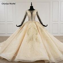 HTL1235 2020 wedding dress boho long sleeve illusion v neck sequin beading lace up sparkly wedding dress robe de mariée bohème