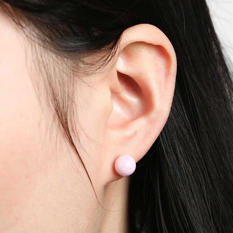 เซรามิค Ball STUD ต่างหูสไตล์สีชมพูสีม่วงสีดำสีขาวเซรามิคฝังเข็มหูต่างหูผู้หญิงสีขาวกล่อง