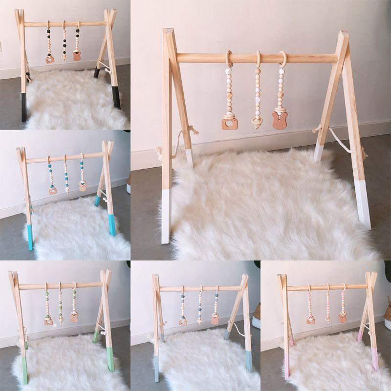 estilo nordico dos desenhos animados do bebe de madeira macica criancas ftness rack criancas decoracao do