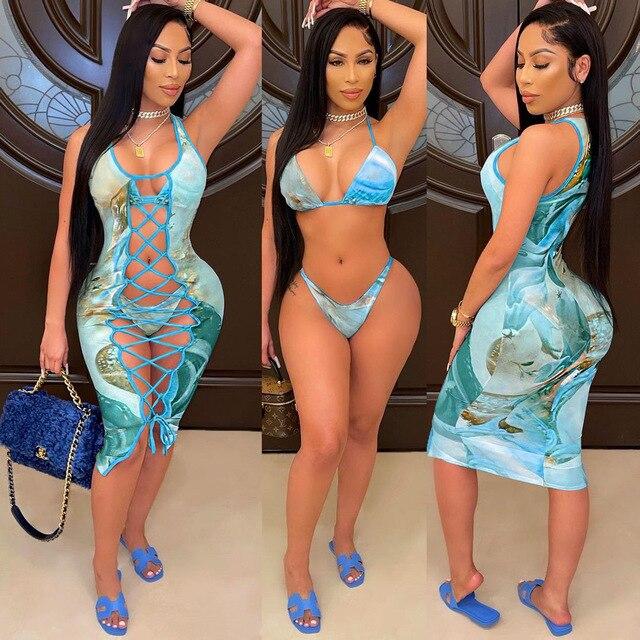 2021 Fashion Bikini Set And Matching Cover Dress Womens Sleeveless Hollow Out Laced Beach Dress 3 Pieces Outfits Beachwear S-XL 3
