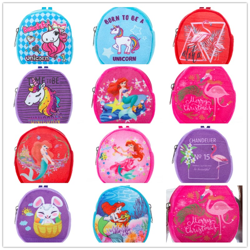 2020 Hot Sale Doll Accessories Born New Baby Red Blue Pink Unicorn Flamingo Mermaid Backpack For Baby Birthday Festival Gift