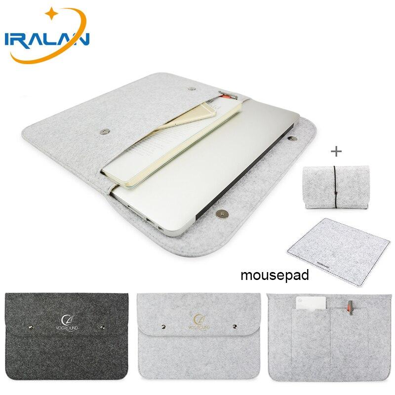 Новая сумка для ноутбука, чехол для Macbook Air Pro Retina 11 13 15, мягкая деловая сумка из войлока и древесины для HUAWEI, Xiaomi, HP, Dell, Asus