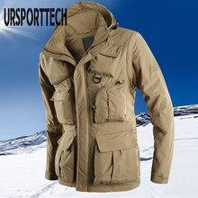 URSPORTTECH kış ceket erkekler kalın polar askeri Parkas büyük boy palto kalınlaşmak sıcak rüzgarlık ceketler Homme yüksek kaliteli