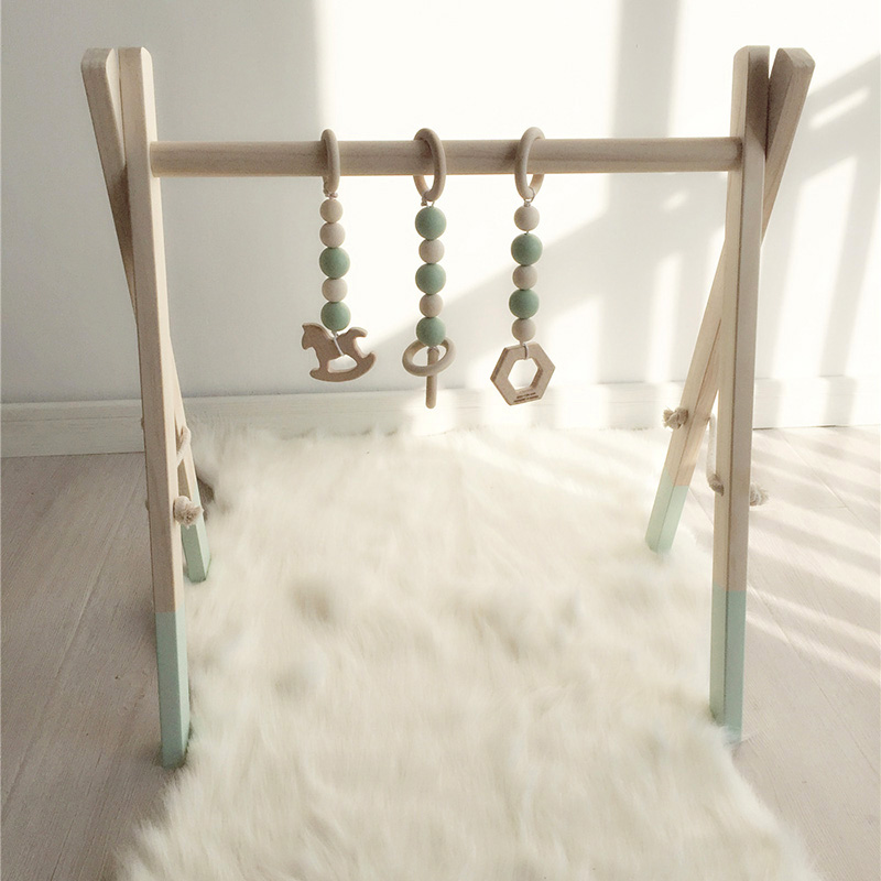 Cadre nordique de gymnastique d'activité de bébé avec des Mobiles pour les nouveau-nés décor de chambre de bébé en bois début jouets éducatifs photographie Prop - 3