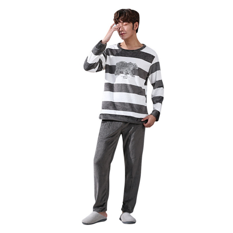 Christmas Pajamas Sets Men Winter Thick Warm Flannel Mens Pajama Long Sleeve Coral Velvet Sleepwear Suit Loungewear Home Clothes
