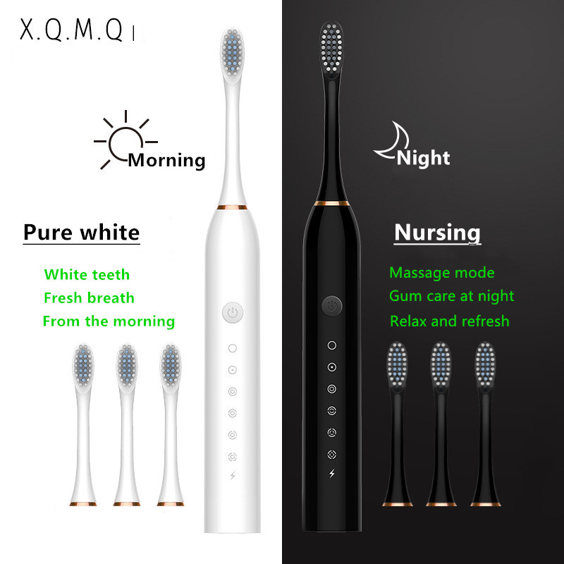 Sonic Electric Toothbrush 6 Mode USB Charger IPX7 Waterproof Adult timer Brush Tooth Brushes Replacement Heads Teeth Whitening