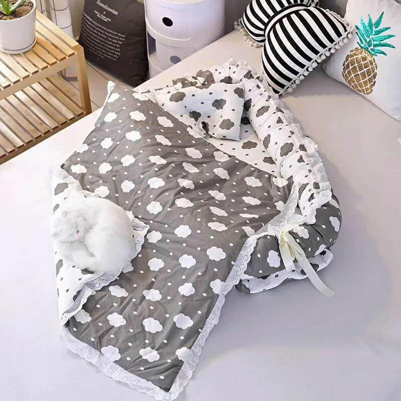 Baby Portable Crib Newborn  Nest  Crib Cotton Travel Sleeping Bed Safety Protection Baby Foldable 2pcs/set Printing