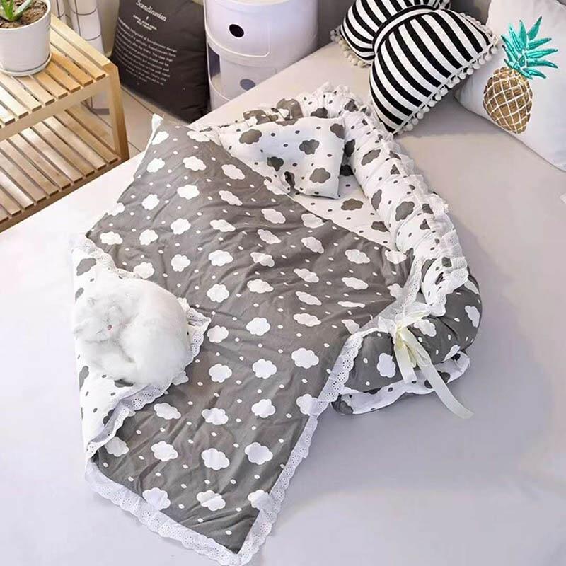 Baby Portable Crib Newborn  Nest  Crib Cotton Travel Sleeping Bed Safety Protection Baby Foldable 2pcs/set Printing