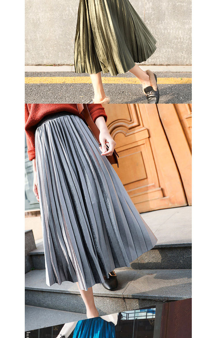 H17d843463e854f12a6c1a94418d3e4b41 - Gold Velvet Long Skirt Women Fall Winter Korean Pleated High Waist Casual Loose Office Lady Clothes Bottoms Plus Size