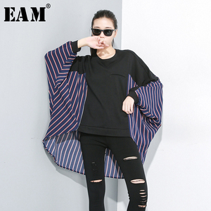 [EAM] Women Loose Fit Striped Spliced Oversize T-shirt New Round Neck Long Batwing Sleeve Fashion Tide Spring Autumn 2020 1A833