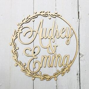 Индивидуальный деревянный Свадебный настенный знак, индивидуальное имя жениха и невесты, знак Babyshower, круглые вечерние декоративные украше...