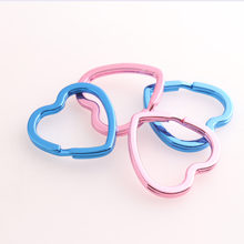 Pink Color Heart Shape Keyrings Metal Keychains Blue Split Rings for Key Chain Wholesale Lanyard Findings
