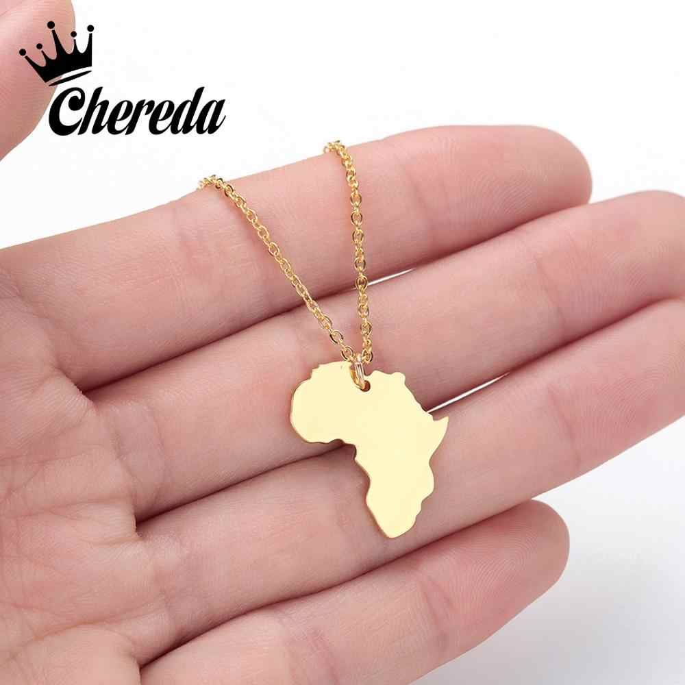 Chereda Korean Style Africa Map Necklace Geometric Unique Jewelry Wedding Party Statement Necklaces & Pendants Jewelry