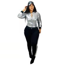 2020 High Street Plus Size 2 pcs Women Set Women's New Fashion Sexy Sequins Casual Two piece V-Neck Tops Long Pants Tracksuits
