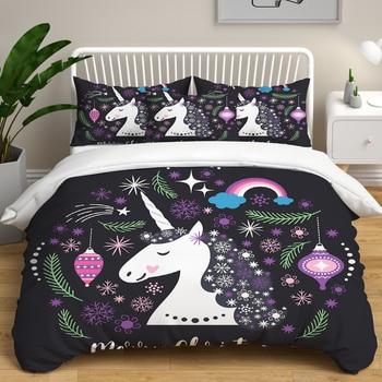 Home Bedroom Bedding Duvet Cover set Cartoon White Small Pony Printed Unicorn Bedding set Quilt Cover Pillowcase kids Bedding