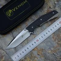VENOM2 carbon fiber folding knife M390 blade titanium outdoor camping hunting survival pocket kitchen fruit knife EDC tool knive