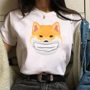 Face Mask Shiba Inu T Shirt Funny Cute Animal Shirt Women Ulzzang T-shirt Female Tees Harajuku Tee Shirt Cartoon Cute Tops T-shi